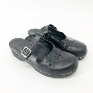 Dansko Black Clog Slip on Leather Comfort Shoes 41